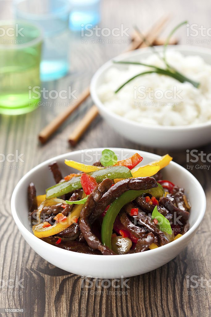 beef stir-fry stock photo
