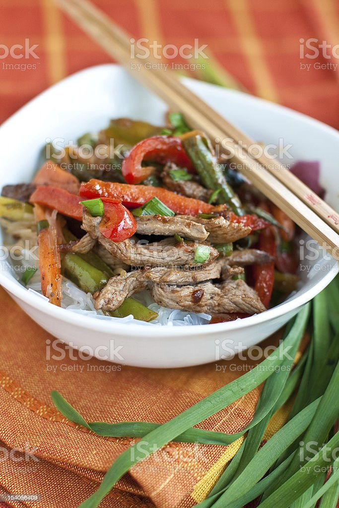 Beef stir-fry with vegetable over  rice stock photo