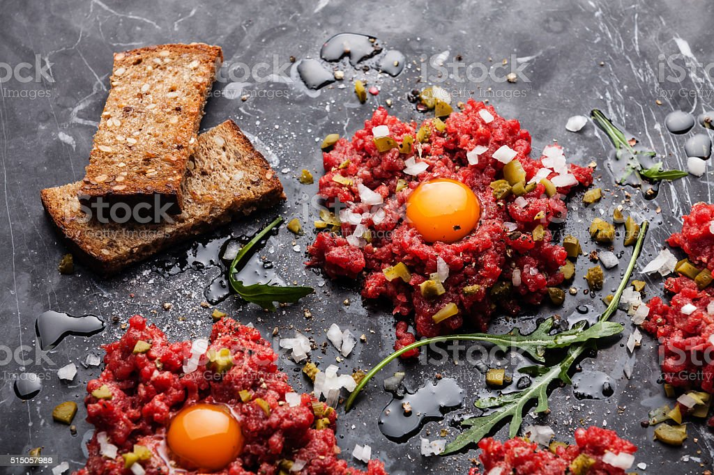 Beef tartare steak stock photo