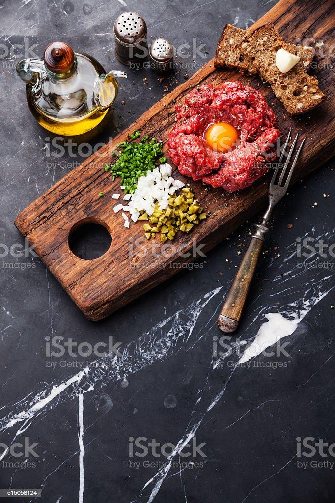 Beef tartare steak stock photo