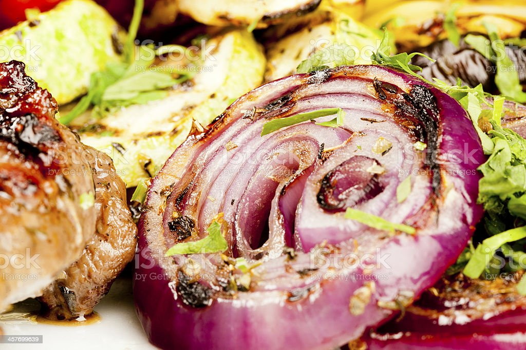 Beef tenderloin with grilled vegetables stock photo