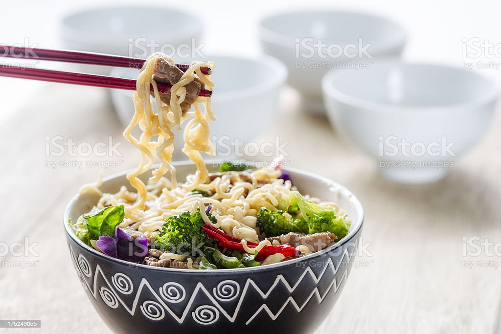 Beef teriyaki with noodles royalty-free stock photo