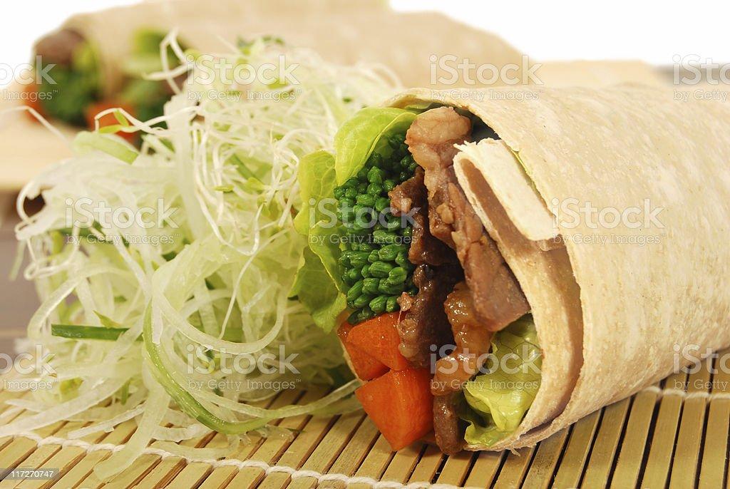 Beef teriyaki wrap sandwiches stock photo
