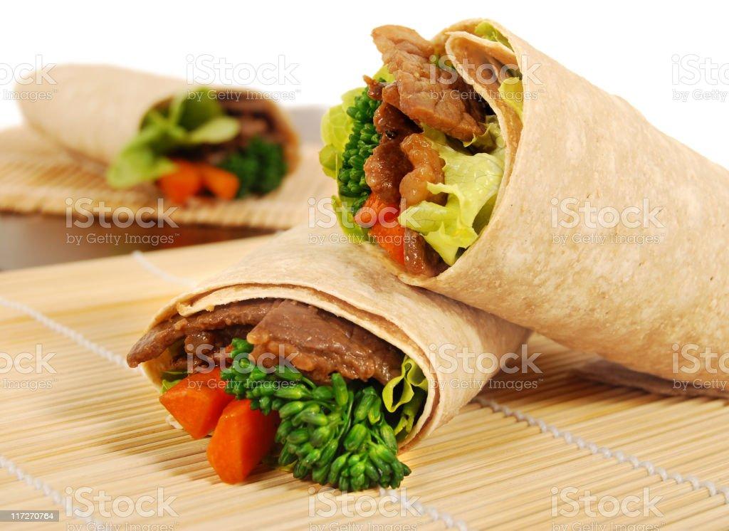 Beef teriyaki wrap sandwiches royalty-free stock photo