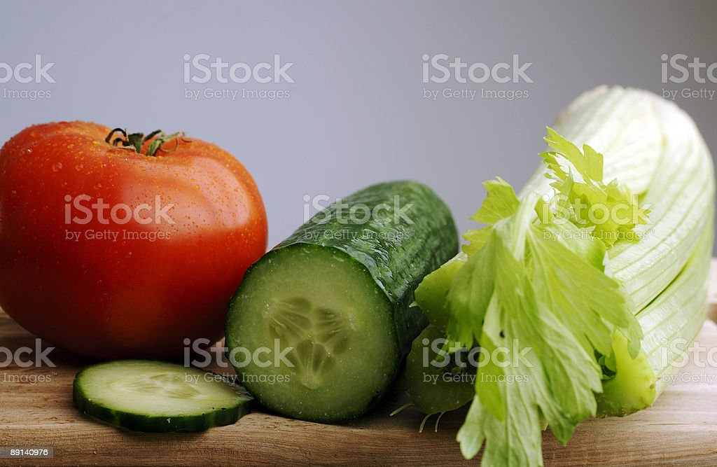 Beef tomato, celery, cucumber, salad ingredients royalty-free stock photo