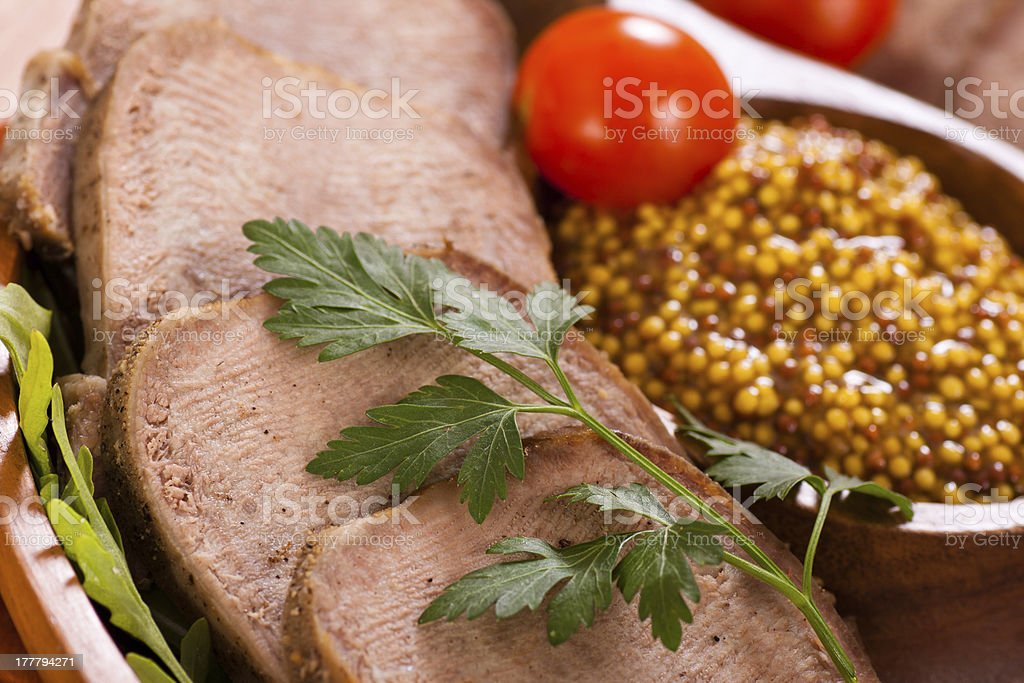 Beef tongue with mustard royalty-free stock photo