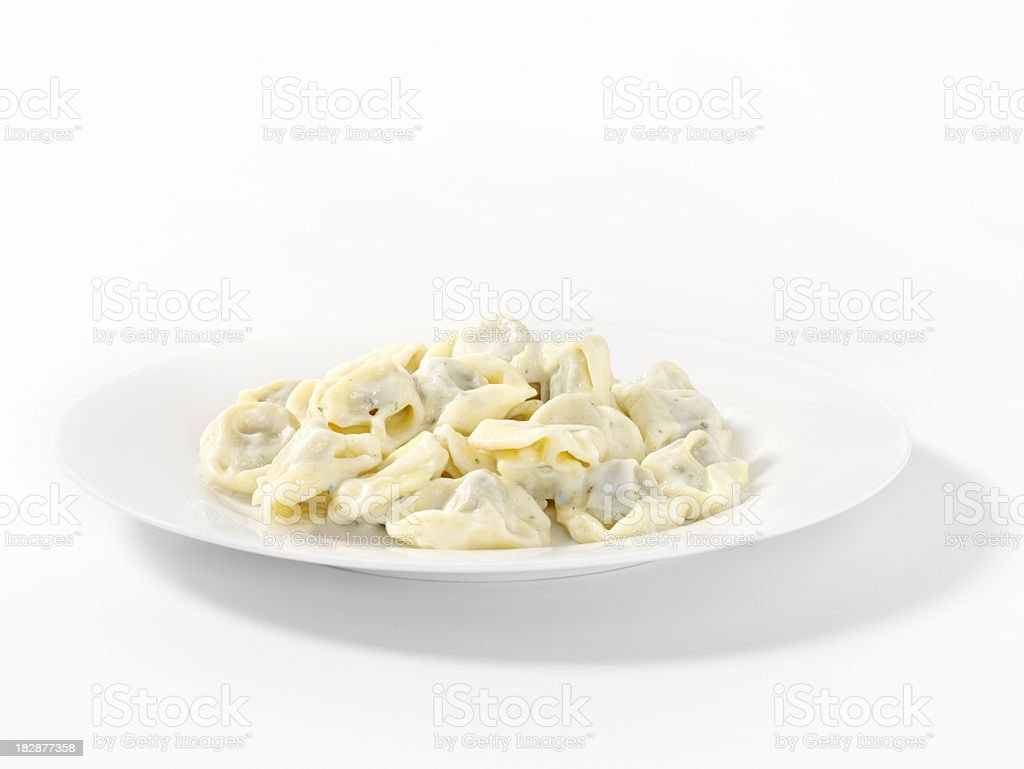 Beef Tortellini in a Cream Sauce royalty-free stock photo