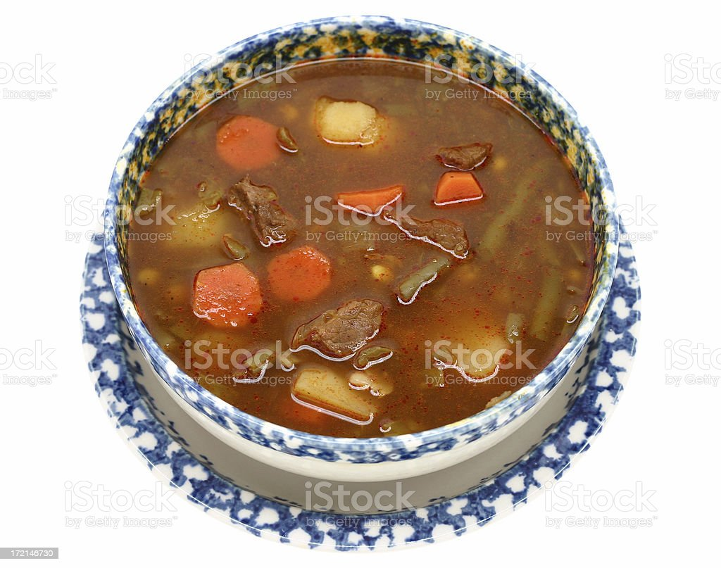 beef vegetable soup stock photo