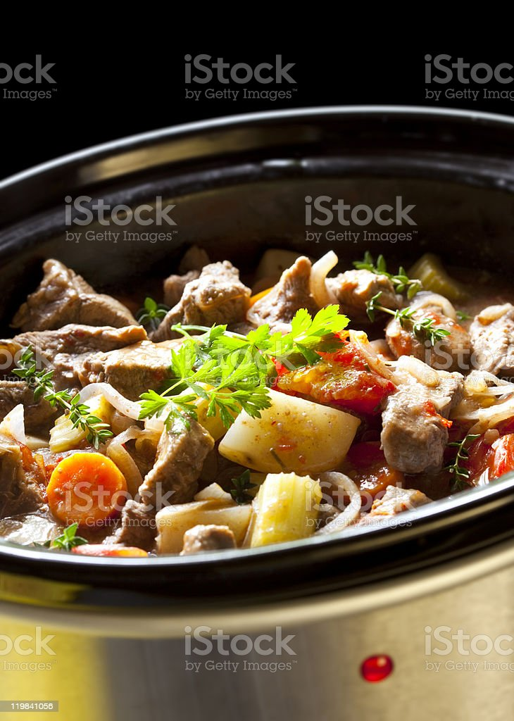 Beef vegetable stew in a crockpot stock photo