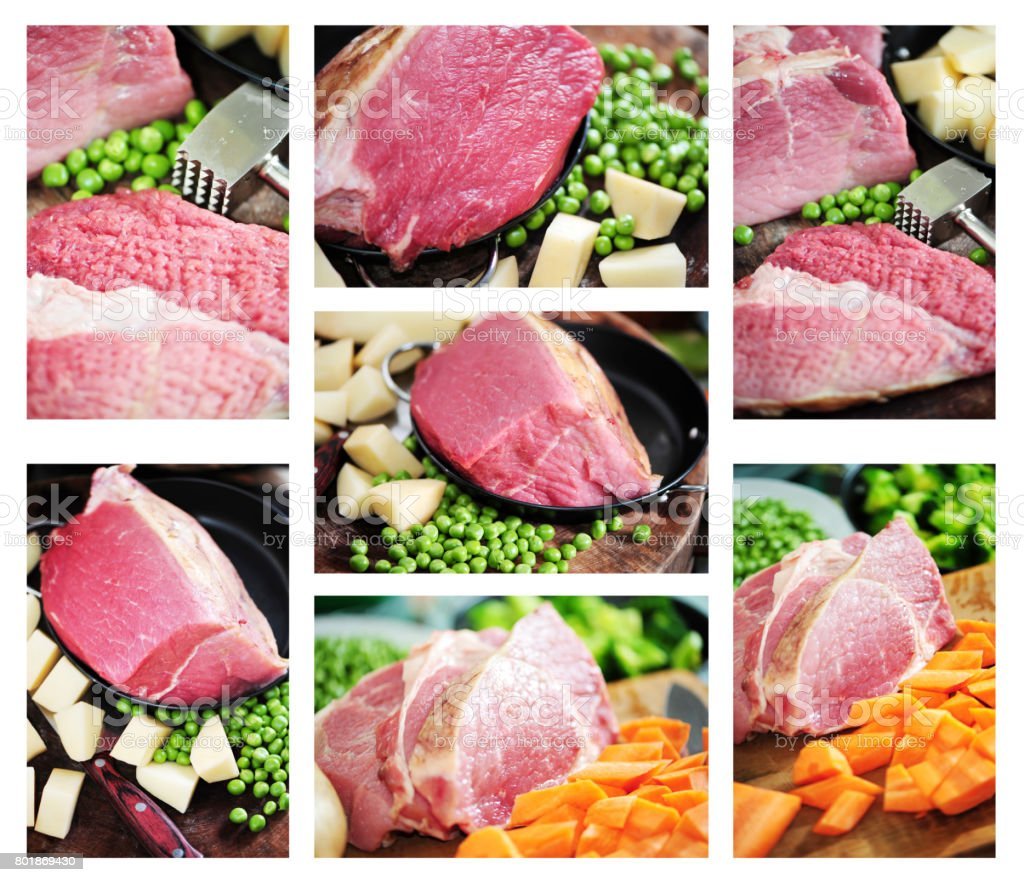 Beef, vegetables background stock photo