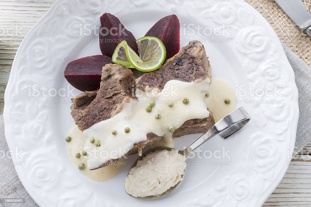 Beef with beetroot and horseradish sauce royalty-free stock photo