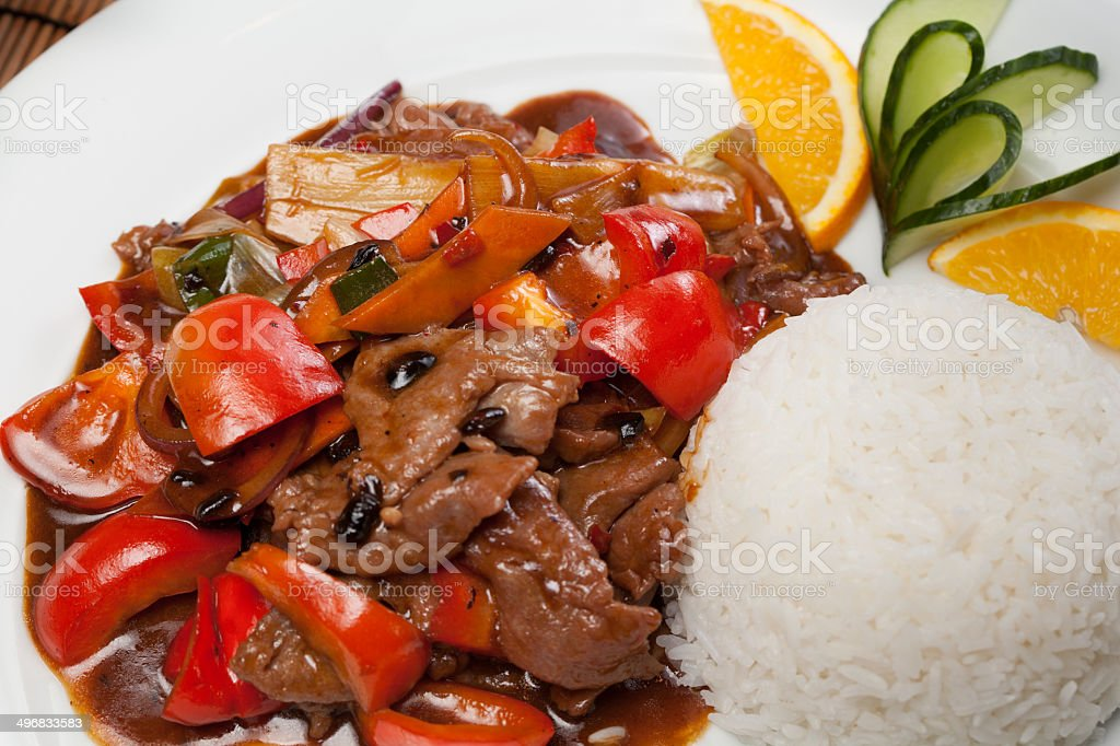 beef with black beans and pepper stock photo