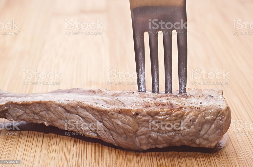 beef with fork royalty-free stock photo