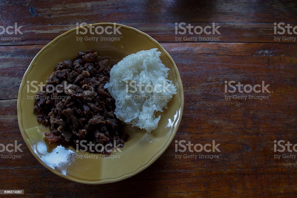Beef with fried rice stock photo