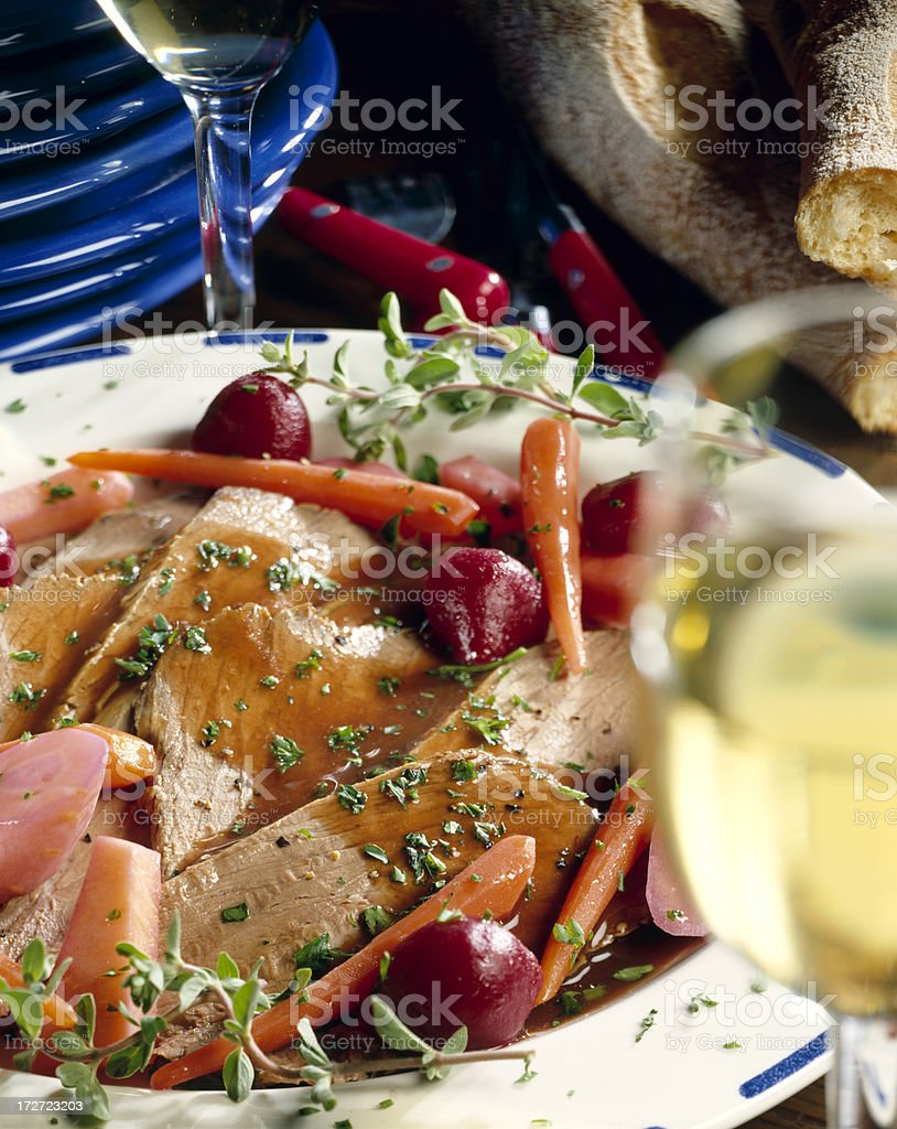Beef with gravey and white wine royalty-free stock photo