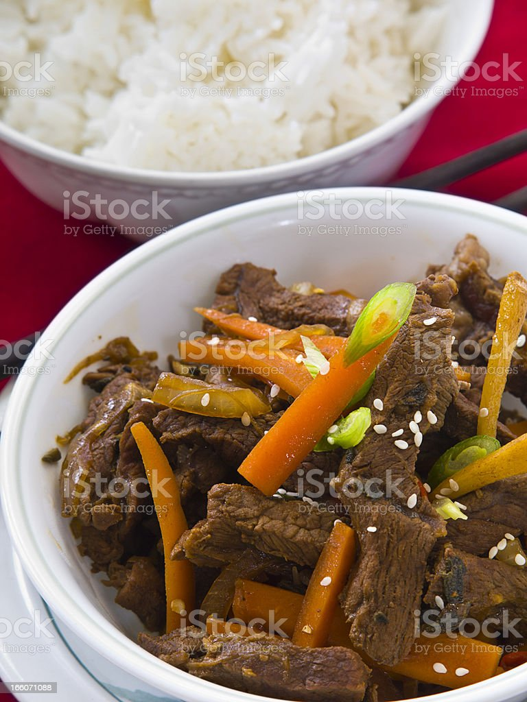 beef,carrot and ginger stir-fried stock photo