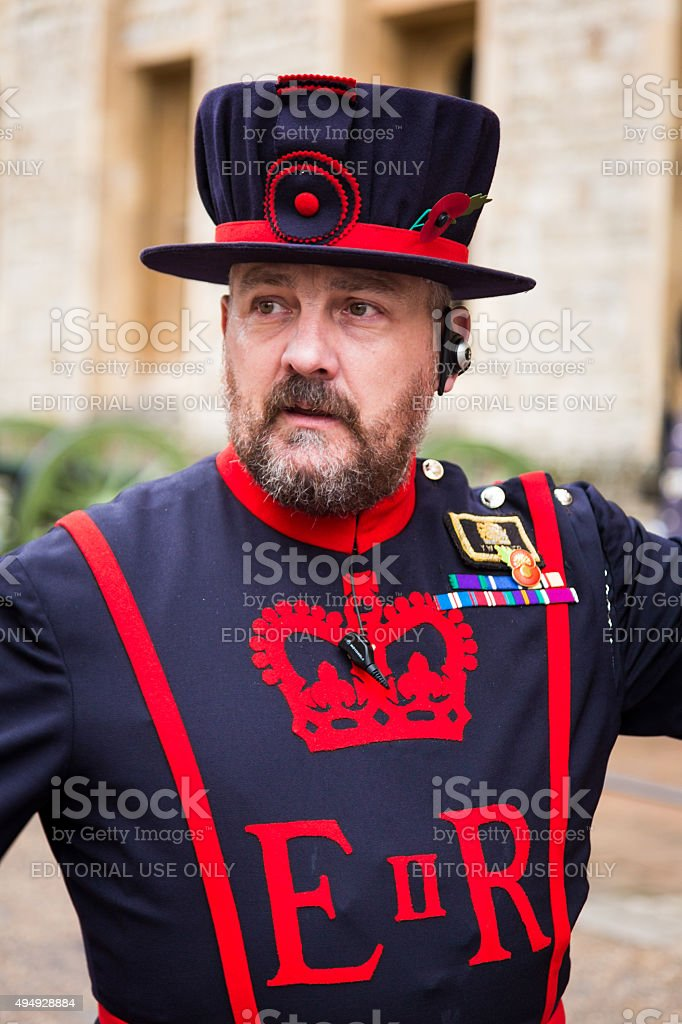 Beefeater at the Tower of London, London, UK stock photo