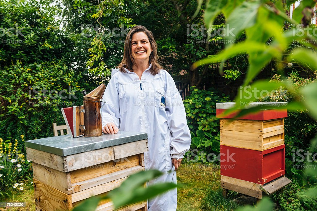 Beekeeper with her beehives stock photo