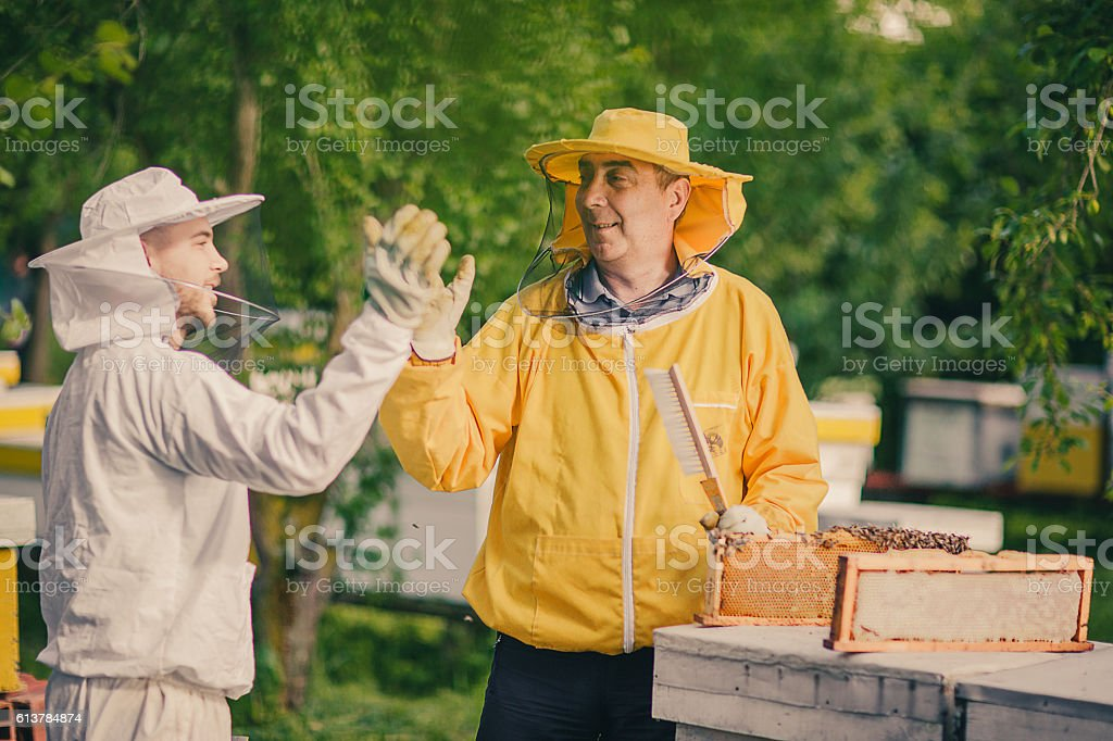Beekeepers in uniforms stock photo