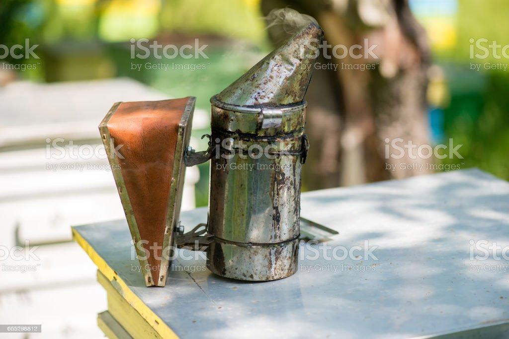 beekeeping bellows stock photo