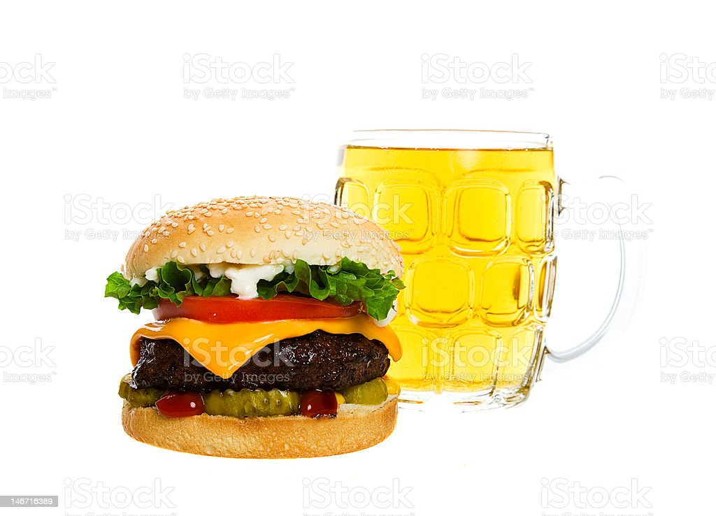Beer and a Burger royalty-free stock photo