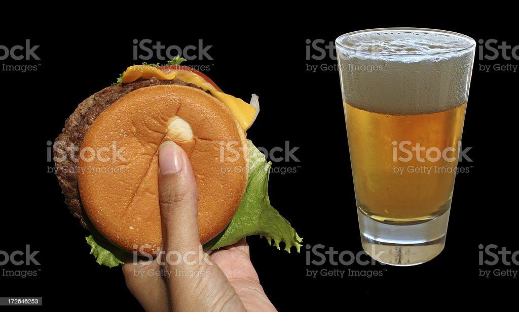 Bière et hamburger photo libre de droits