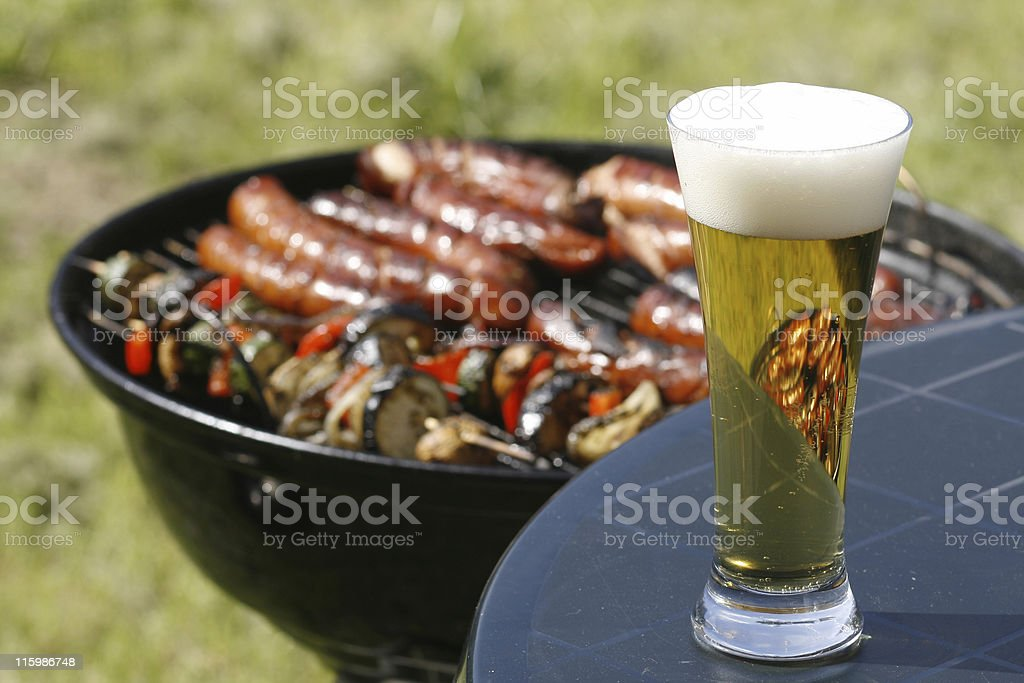 beer and barbeque royalty-free stock photo