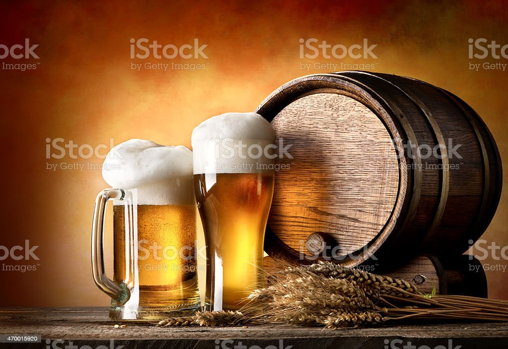 Beer and barrel stock photo