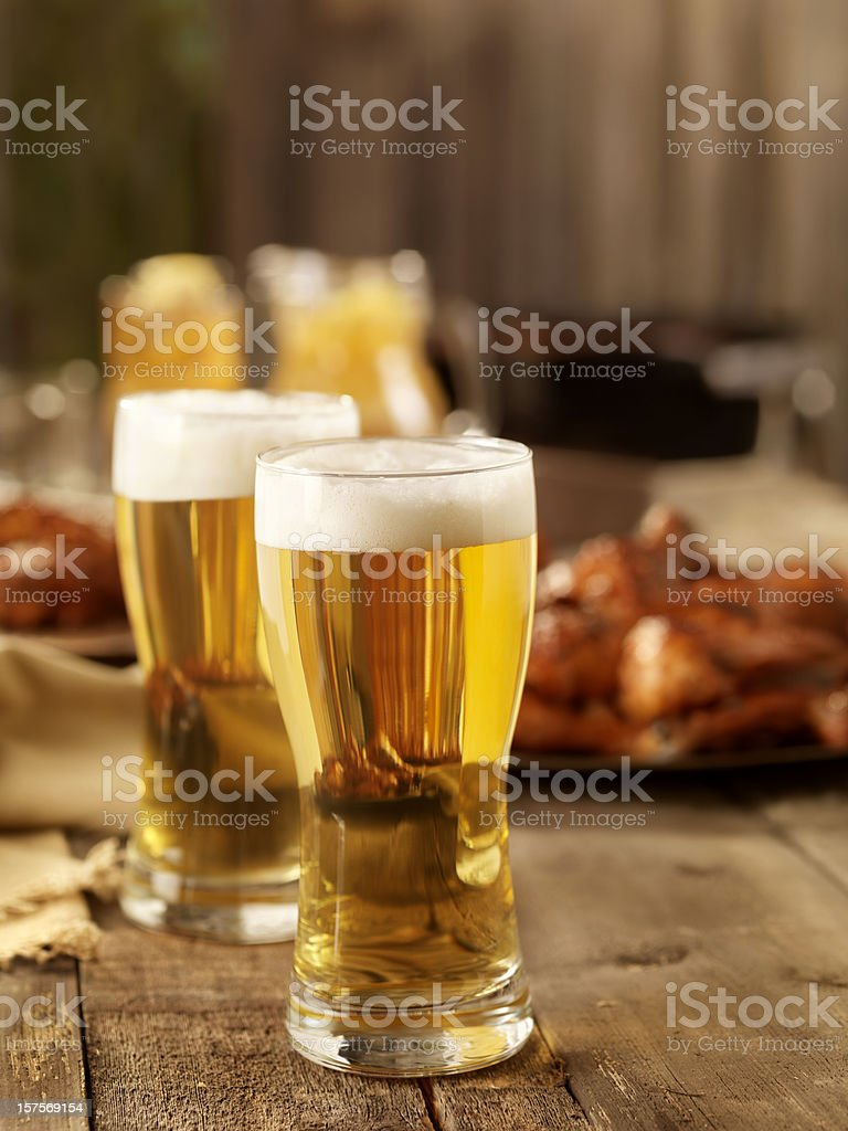 Beer and BBQ Chicken royalty-free stock photo