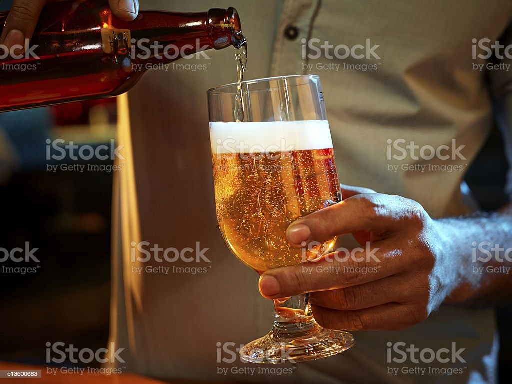 Beer and bottle stock photo