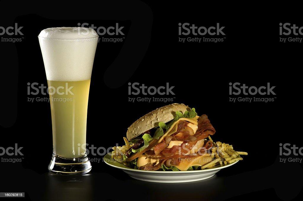 Beer and Burger royalty-free stock photo
