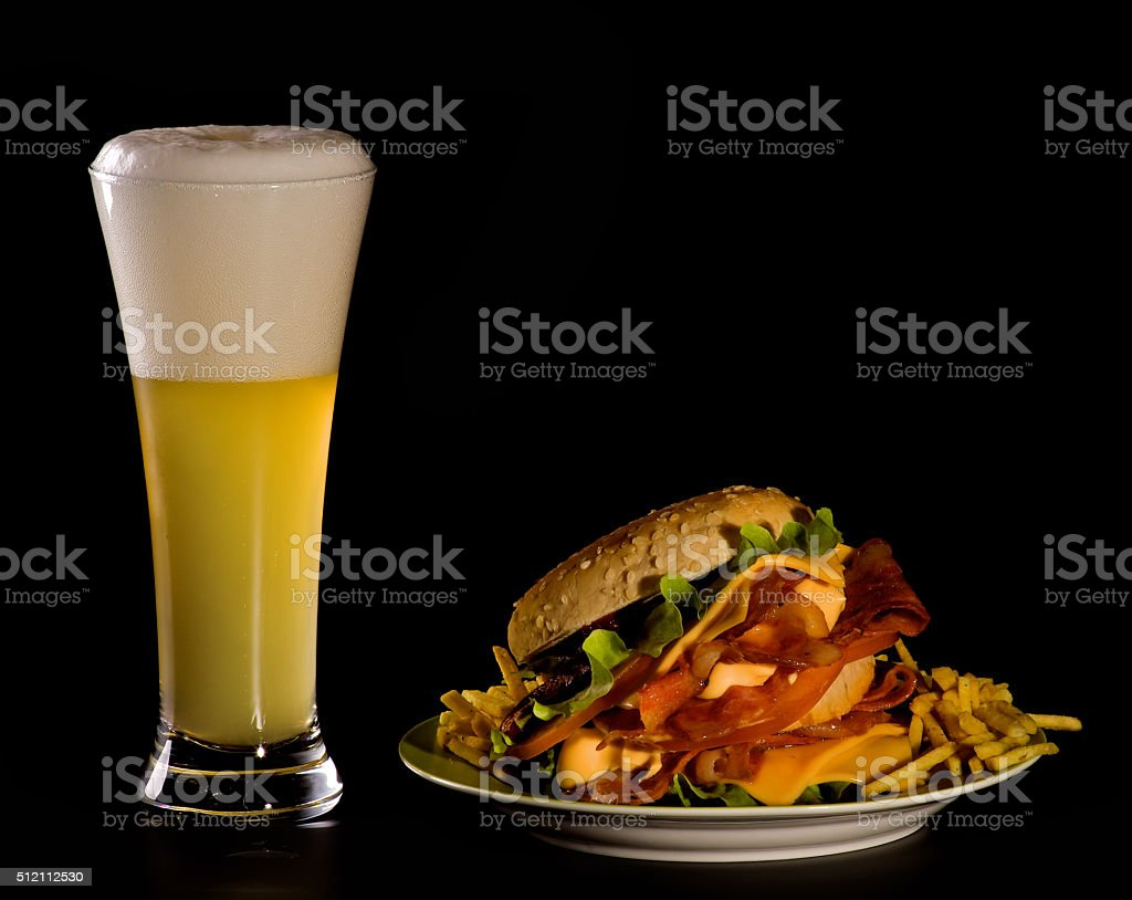 Beer and Burger stock photo