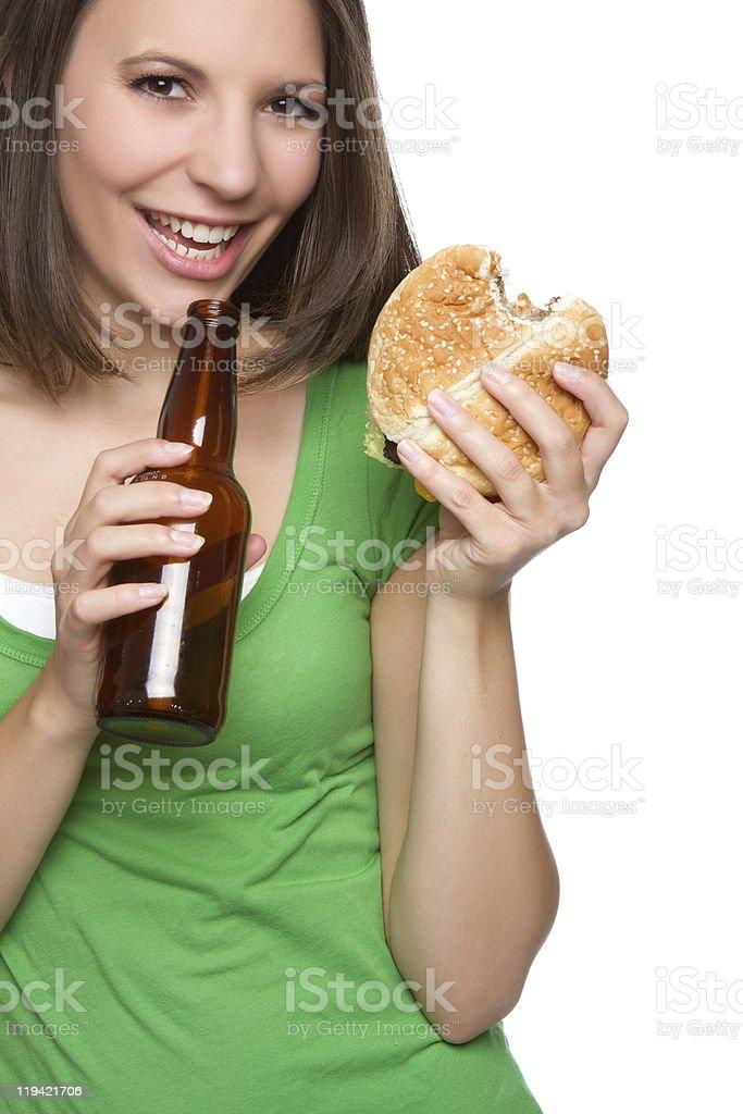 Beer and Burger Woman royalty-free stock photo