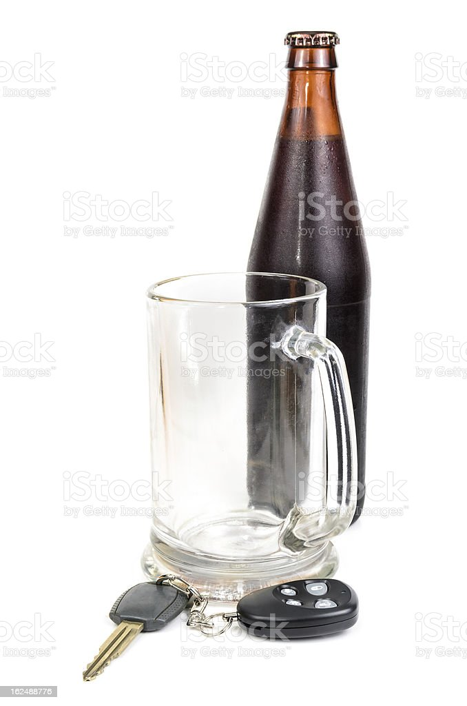 Beer and car keys royalty-free stock photo