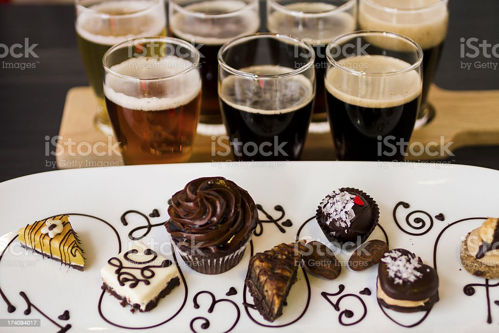 Beer and Chocolates stock photo