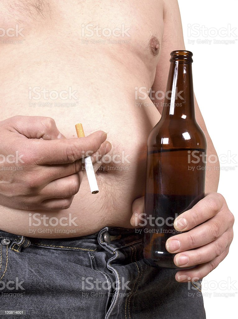 Beer and cigarette royalty-free stock photo