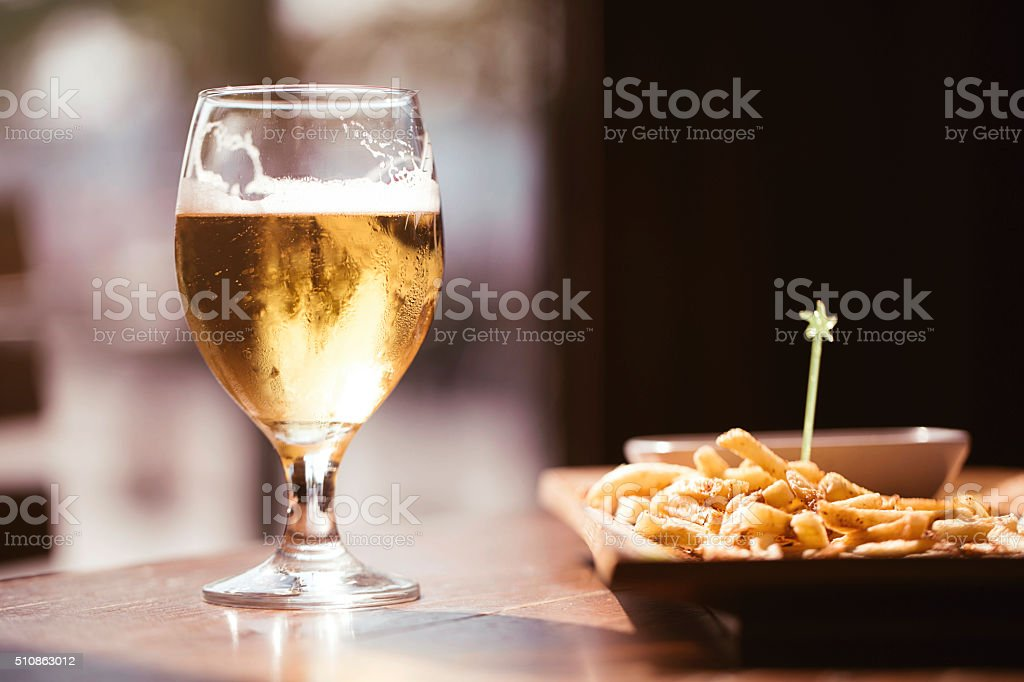 Beer and Fries stock photo