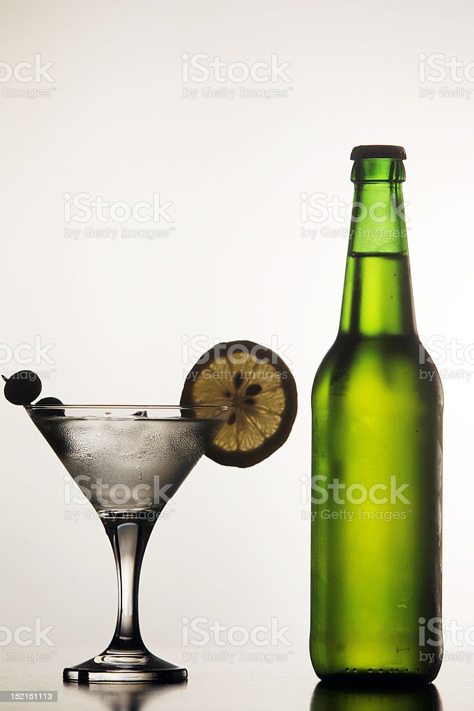Beer and Martini royalty-free stock photo