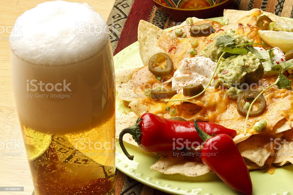 Beer and Nachos royalty-free stock photo