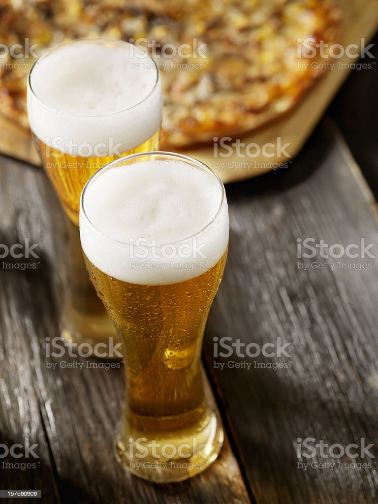 Beer and Pizza royalty-free stock photo