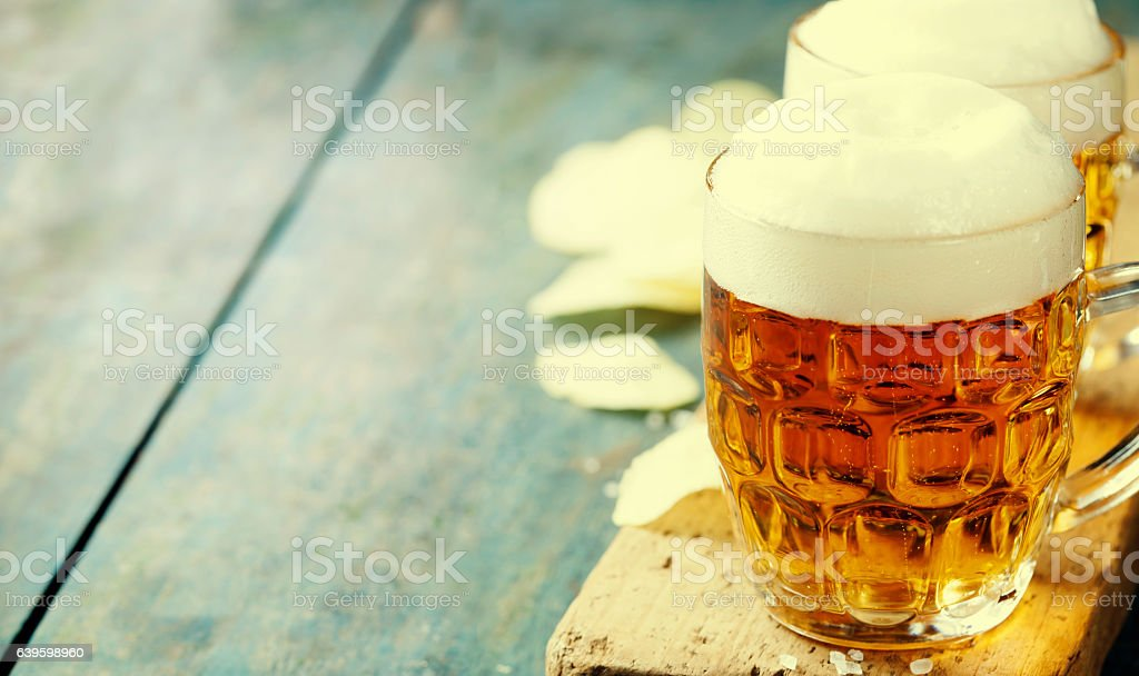Beer and Potato Chips stock photo