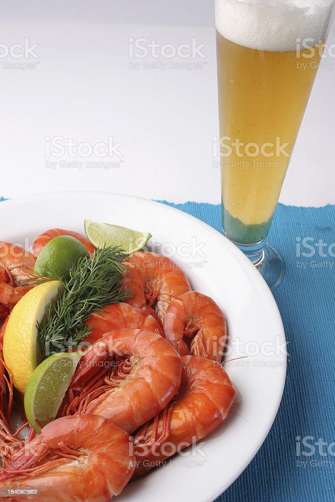Beer and Prawns Shrimp royalty-free stock photo