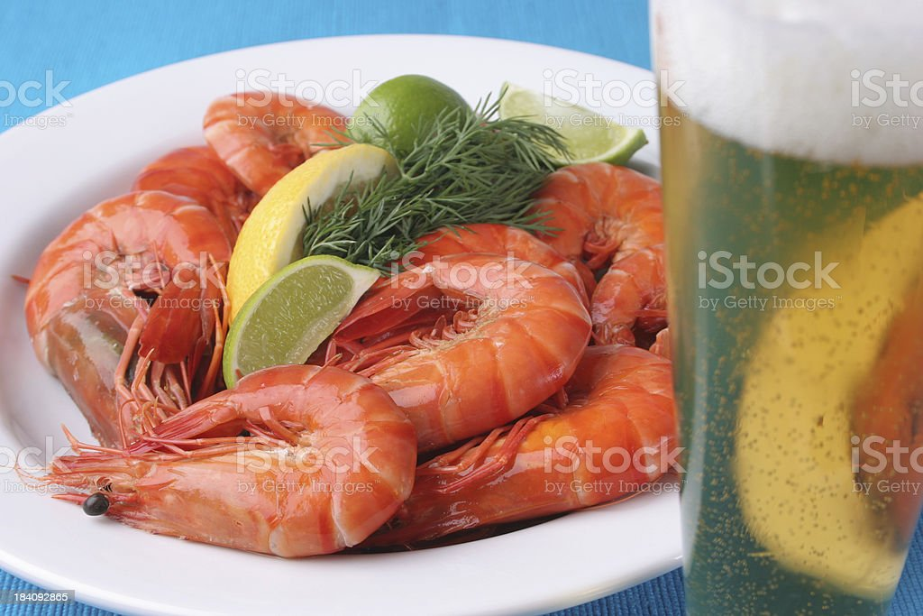 Beer and Prawns Shrimp stock photo