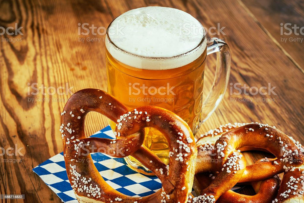Beer and Pretzel, Oktoberfest stock photo