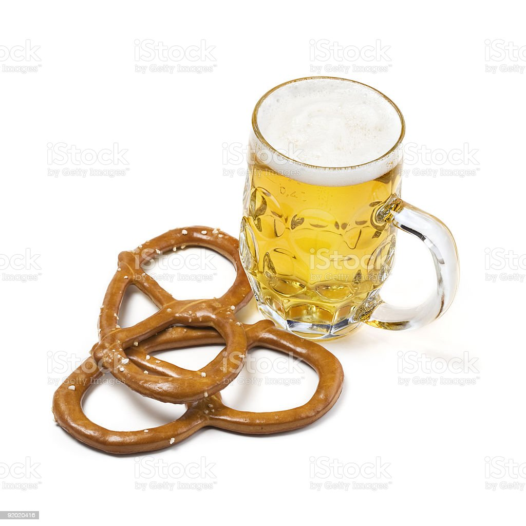 Beer and pretzel royalty-free stock photo