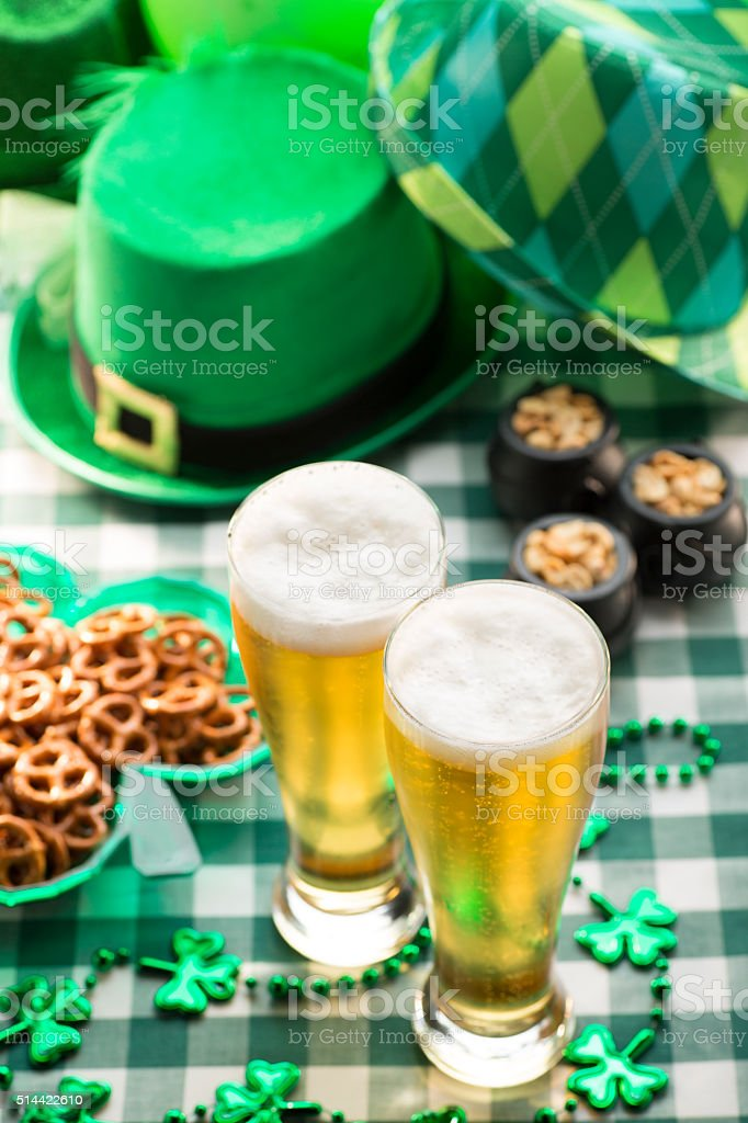 Beer and Pretzels in Irush Pub St. Patricks Day Party stock photo