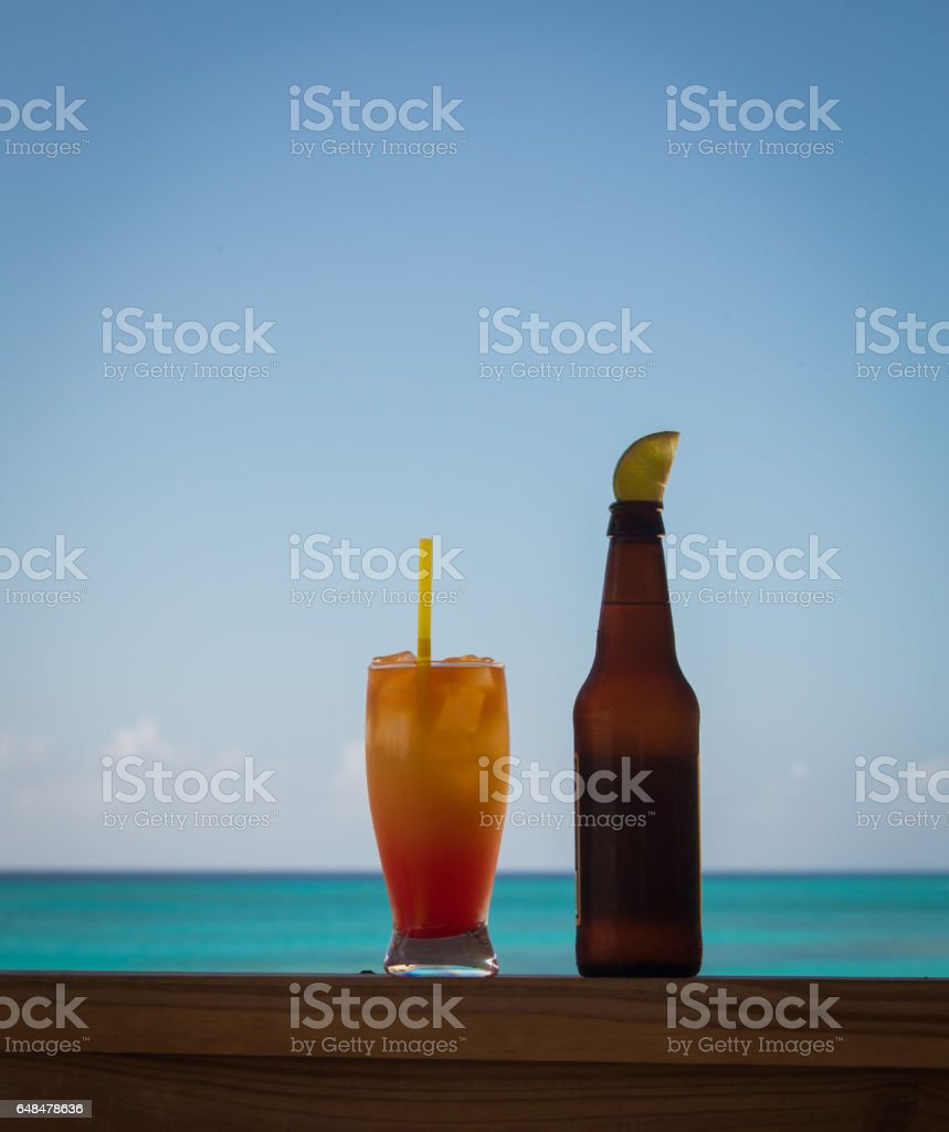 beer and rum punch stock photo