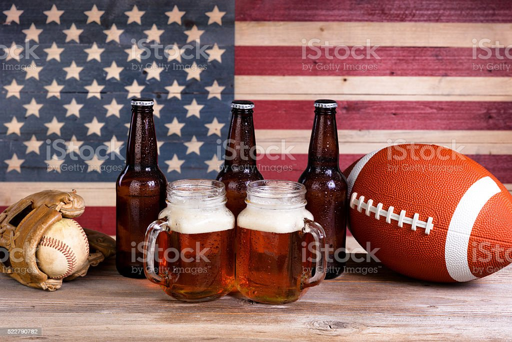 Beer and sports stuff for the holiday season stock photo