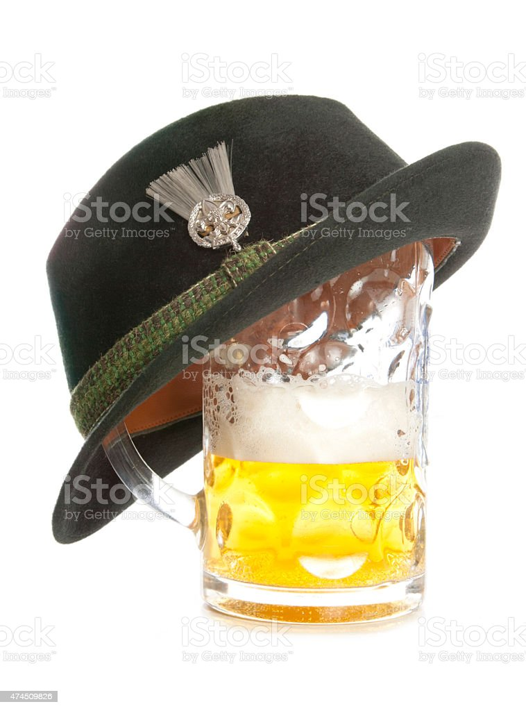 beer and tryolean hat stock photo