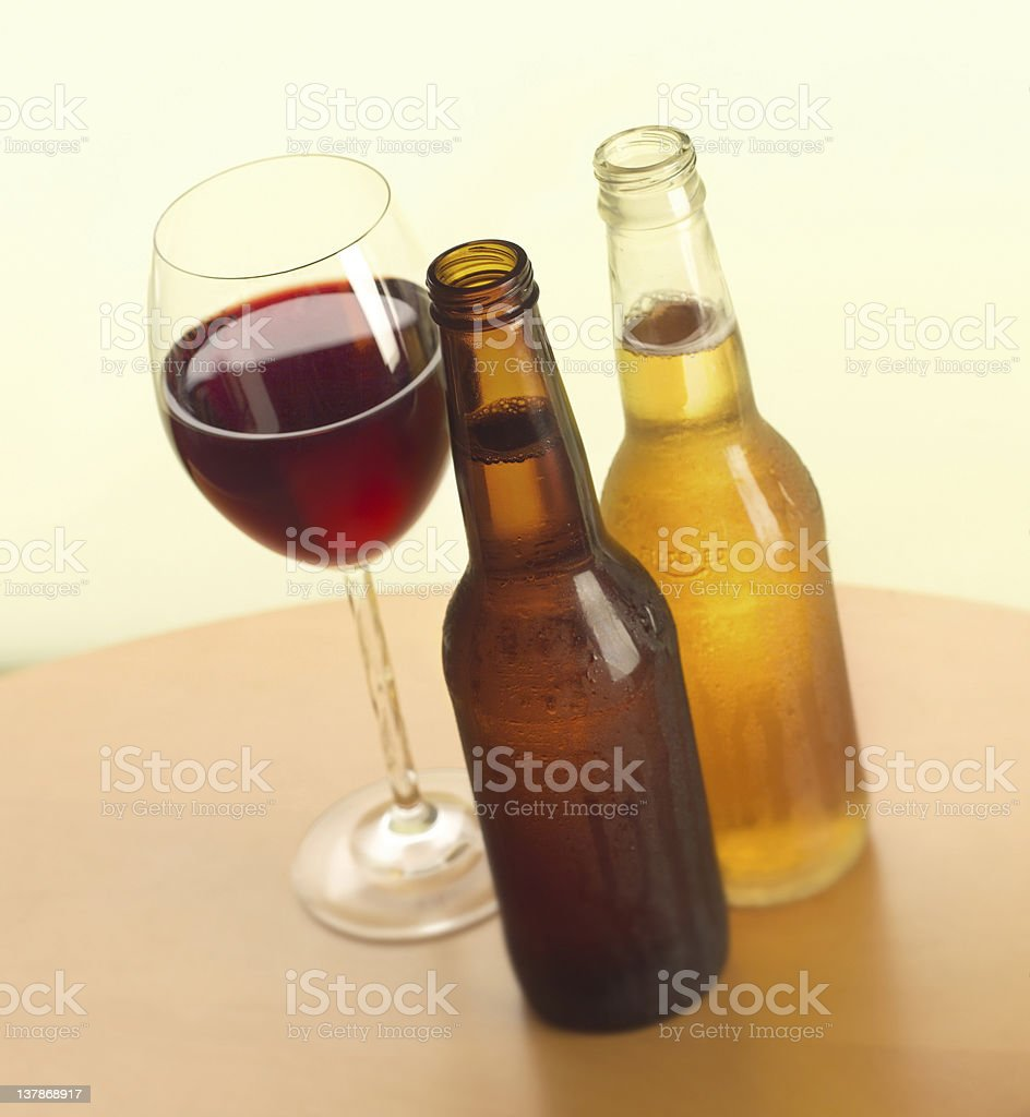 Beer and wine. royalty-free stock photo